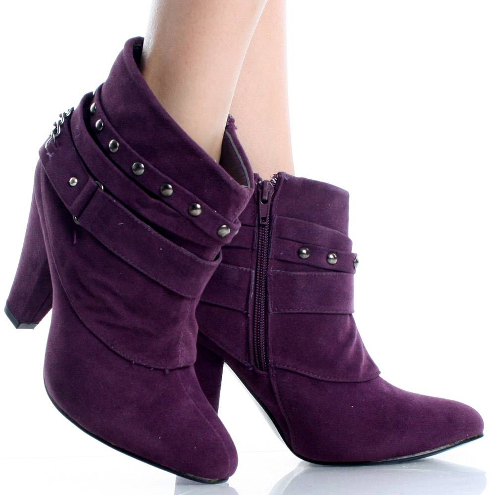 Purple ankle boots in vogue with some women